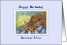 Happy Birthday Mom, cat among blue flowers, birthday card