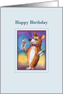 Happy Birthday, Corgi drinking a glass of red wine card