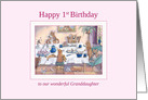 Happy 1st Birthday Granddaughter dog card, Corgi birthday party card