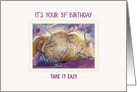 Happy 31st Birthday cat card, cat taking a break from the party card