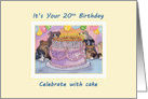 20th Birthday dog card, party dogs with birthday cake and candles card