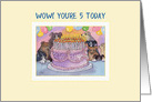5th Birthday dog card, party dogs with birthday cake and candles card