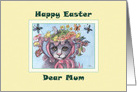 Happy Easter Mum, cat in an Easter bonnet card