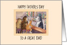 Happy Father's Day to a great Dad, cats at a bar having a drink card
