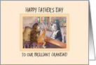 Happy Father's Day brilliant Grandad, cats at a bar having a drink card