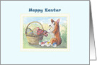 Happy Easter, Corgi dog painting Easter eggs card