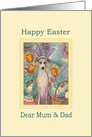 Happy Easter Mum & Dad, Greyhound in bunny ears card