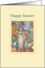 Happy Easter, Greyhound in bunny ears card