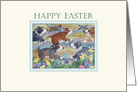 Happy Easter, dogs hunting for Easter eggs card