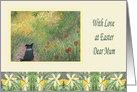 With love at Easter, Mum - Border Collie dog in a meadow card