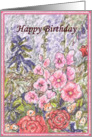 happy birthday paper greeting card flowers card
