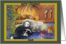 merry christmas mum, border collie dog, sheep, fire, green border, card