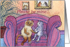 Cats on sofa, Please be mine, card