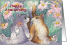 Cats, flowers, Happy Anniversary, card
