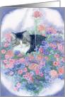 Cat in hanging basket card