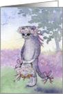 Flower girl kitten on wedding day card