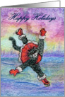 happy holidays, paper card, black cat, card