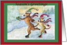 season's greetings, paper card, Ice skating, whippet, card