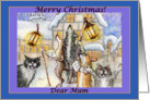 merry christmas, dogs and cats, singing carols, mum, card
