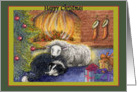happy christmas, border collie dog, sheep, fire, green border, card