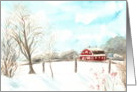 Christmas Landscape Watercolor Christmas Card