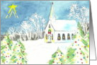 Chistmas Night Full of Light Church Watercolor Scene card