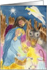 Nativity Scene Original Art Christmas Card