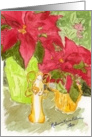 Original Watercolor with Poinsettias Christmas Angel Still Life card