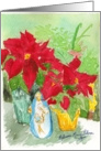Original Watercolor with Poinsettias Christmas Nativity Still Life card