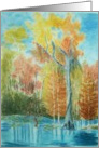 Birthday Autumn Landscape Cypress Trees Watercolor Card