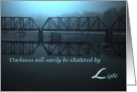 Encouragement, Shadowed Railroad Bridge Over Winter Waters card