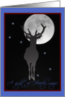 Christmas Heavenly Magic, Deer Silhouette in Full Moonlight card