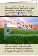 Birthday, 1939, Partner, Golden Sunset Over White Rail Fence,Green Grass, Yellow Buttercups card