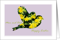 Easter, Mom and Dad, Daffodil Bird on Lavender card