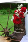 Wedding Invitation,Rustic Red Roses Cowboy Boots,Custom Personalize card