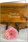 Wedding Invitation, Pink Daisy and Horseshoe, Custom Personalize card