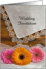Country Wedding Invitation, Daisy Trio and Lace, Custom Personalize card