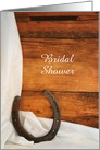 Bridal Shower Invitation, Horseshoe and Satin, Custom Personalize card