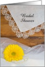 Country Bridal Shower Invitation,Yellow Daisy Lace, Custom Personalize card