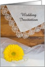 Country Wedding Invitation,Yellow Daisy Lace, Custom Personalize card
