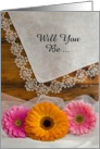 Country Wedding, Bridesmaid Invitation, Daisy Trio, Custom Personalize card