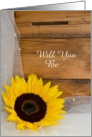 Country Wedding, Bridesmaid Invitation, Sunflower, Custom Personalize card