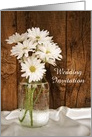 Wedding Invitation, Mason Jar White Daisies, Custom Personalize card