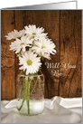 Bridesmaid Invitation, Mason Jar White Daisies, Custom Personalize card