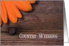 Orange Daisy Country Wedding Save the Date Announcement card