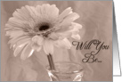 Bridesmaid Invitation Gerbera Daisy with Pink Tint card