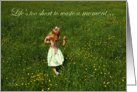 Enjoy your Retirement: Child running through field of flowers card