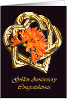 Golden Anniversary golden hearts - Card