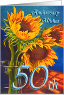Golden Wedding Anniversay Wishes - Sunflowers card
