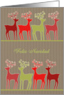 Merry Christmas in Spanish, reindeer, kraft paper effect card